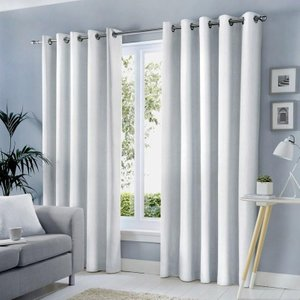 J Rosenthal Ready Made Curtains Sorbonne Ready Made Lined Eyelet Curtains White Jr/rmc/sorbonne/white 0049