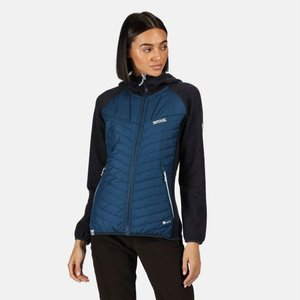 Women's Pemble Ii Hybrid Full Zip Hooded Walking Fleece Blue Opal Navy Regatta
