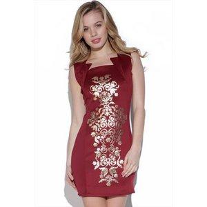 Baroque Print Bodycon Dress Vestry Online 3578