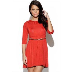 Belted Red Skater Dress Vestry Online 3206