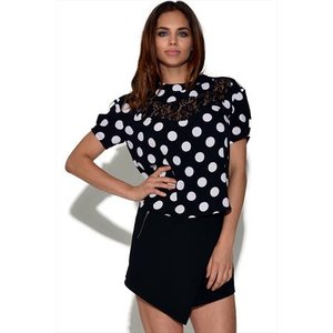 Girls On Film Monochrome Polka Dot Top Vestry Online 4470