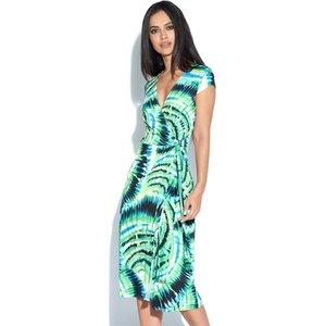 Green Print Wrap Dress Vestry Online 6074