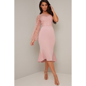 Pink Embroidered One Sleeve Dress Vestry Online 6485