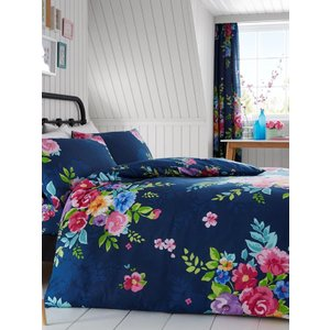 Not Specified Alice Floral Double Duvet Cover And Pillowcase Set - Navy And Pink Taa020 Home Textiles