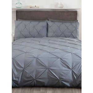 Not Specified Balmoral Pin Tuck Grey Single Duvet Cover And Pillowcase Set Rad070 Home Textiles
