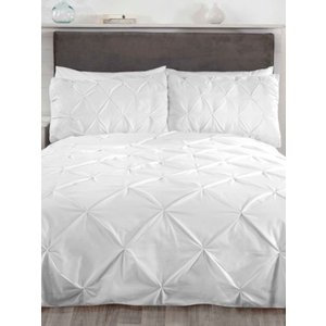 Not Specified Balmoral Pin Tuck White Double Duvet Cover And Pillowcase Set Rad074 Home Textiles