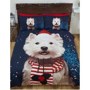 Christmas Westie Dog Double Duvet Cover And Pillowcase Set Rap002 Home Textiles