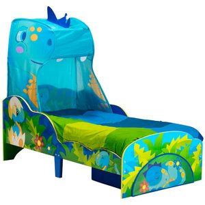 Dinosaurs Dinosaur Toddler Bed With Storage And Canopy Plus Deluxe Foam Mattress Tod017 Mat003 Beds