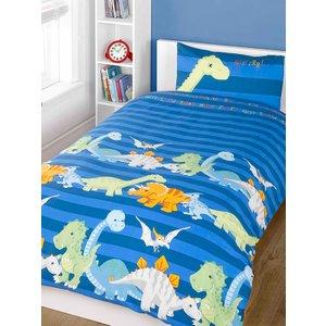 Dinosaurs Blue Junior Toddler Duvet Cover & Pillowcase Set Duv472 Home Textiles