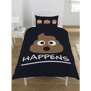 Emoji Mr Poo Single Duvet Cover And Pillowcase Set - Black Emo020 Home Textiles