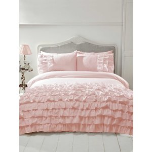 Not Specified Flamenco Ruffle Blush Pink Single Duvet Cover And Pillowcase Set Rad002 Home Textiles