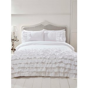 Not Specified Flamenco Ruffle White Single Duvet Cover And Pillowcase Set Rad003 Home Textiles