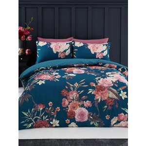 Not Specified Flora Double Duvet Cover And Pillowcase Set - Teal Taa103 Home Textiles