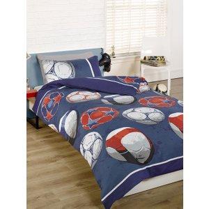 Football Double Duvet Cover And Pillowcase Set - Blue Duv392 Home Textiles