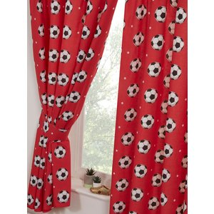 Football Red Lined Curtains Cur066 54 Curtains & Blinds