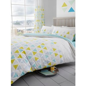 Not Specified Geometric Triangle Double Duvet Cover And Pillowcase Set - Teal Taa038 Home Textiles