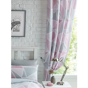 Metro Geometric Triangle Lined Curtains - Pink / Grey Taa130 72 Curtains & Blinds