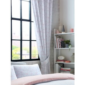 Geometric Metro Prism Triangle Lined Curtains - Blush / Grey Taa126 54 Curtains & Blinds