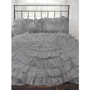 Not Specified Naya Ruffle Silver Double Duvet Cover And Pillowcase Set Rad124 Home Textiles