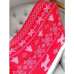 Nordic Print Bergen Christmas Throw Blanket - Red Rap021 Home Textiles