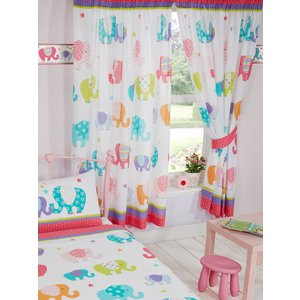 Animals Patchwork Elephant Lined Curtains Cur045 54 Curtains & Blinds