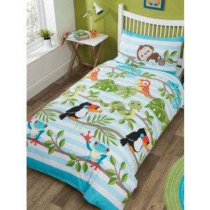 Jungle Animals Rainforest Single Duvet Cover And Pillowcase Set Rap139 Home Textiles
