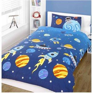 Outer Space Rocket Single Duvet Cover And Pillowcase Set Duv283 Home Textiles