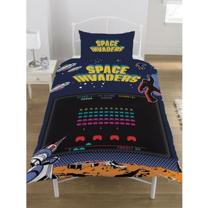 Not Specified Space Invaders Single Duvet Cover And Pillowcase Set Vad001 Home Textiles