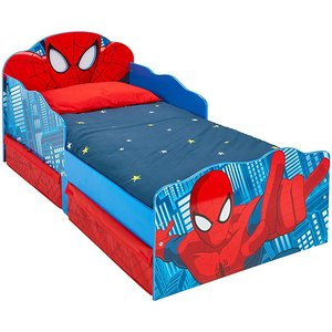 Spiderman Toddler Bed With Storage And Light Up Eyes Plus Foam Spi381 Mat002 Beds