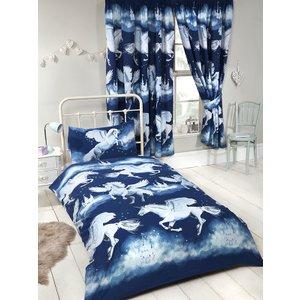 Stardust Unicorn Junior Toddler Duvet Cover And Pillowcase Set - Navy Duv898 Home Textiles