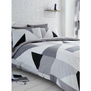 Sydney Grey Geometric Double Duvet Cover And Pillowcase Set Taa109 Home Textiles