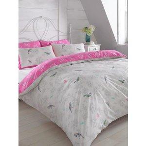 Owls & Birds Vintage Birds Pink Double Duvet Cover And Pillowcase Set Pin011 Home Textiles