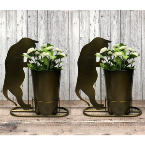 Selections 2 X Curious Cat Plant Pots In Burnished Gold Gfj412
