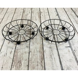 Selections Set Of 2 Round Metal Plant Pot Trolley Movers (43cm) Gfk170