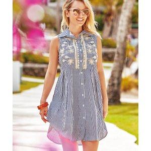 Iconique Elsa Sleeveless Shirt Dress - Stripe, Stripe