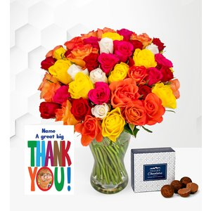 Prestige Flowers 40 Roses With Thank You Card Nf4016 Ayr