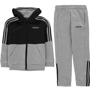 Adidas 3 Stripe  Jogger Suit Junior Boys Medgrey/navy 139826 Mb 638088, MedGrey/Navy