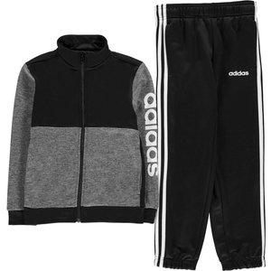 Adidas Boys Linear Knit Kids Tracksuit Dkgrey/blk/wht 290394 Sb 638429, DkGrey/Blk/Wht