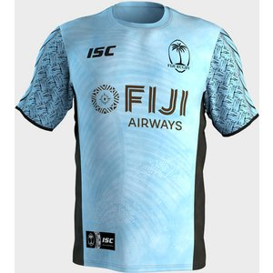 Isc Fiji 7s 2018/19 Players Training T-shirt Sea Blue/black 62814 S Fj17tsh10a, Sea Blue/Black