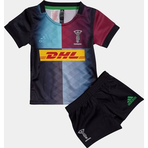 Adidas Harlequins 2019/21 Mini Kids Home Replica Rugby Kit Frost Blue/red Beauty 65831 18 Fp6775, Frost Blue/Red Beauty