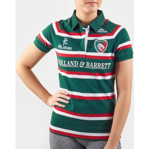 Kukri Leicester Tigers 2019/20 Ladies Home S/s Classic Rugby Shirt Green/red/white 65696 10 Lt00256w109, Green/Red/White