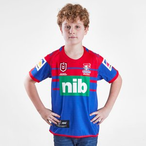 Isc Newcastle Knights Nrl 2019 Kids Home S/s Rugby Shirt Royal/red 61795 10y Nk19jsy01k, Royal/Red