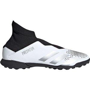 Adidas Predator 20.3 Laceless Childrens Astro Turf Trainers White/metsilver 379908 10k 083116, White/MetSilver
