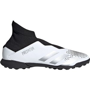 Adidas Predator 20.3 Laceless Childrens Astro Turf Trainers White/metsilver 379908 13k 083116, White/MetSilver