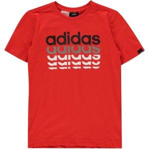 Adidas Repeat Linear Qt T Shirt Junior Boys Red/blk/grey 295324 Xl 595261, Red/Blk/Grey
