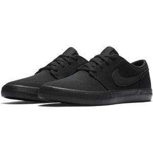 Nike Sb Solarsoft Portmore 2 Canvas Mens Skate Shoes Black/black 295414 10 242015, Black/Black