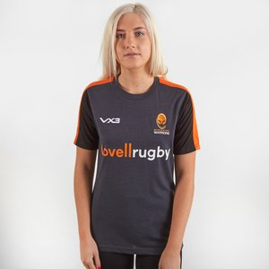 Vx3 Worcester Warriors 2019/20 Ladies Cotton Rugby Training T-shirt Charcoal/orange/black 358159 8, Charcoal/Orange/Black