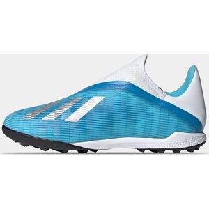 Adidas X 19.3 Childrens Laceless Astro Turf Trainers Cyan/black 338928 10k 083105, Cyan/Black