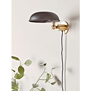 Black & Brass Dome Wall Light 1325015