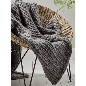 Chunky Knit Throw - Grey 1824960